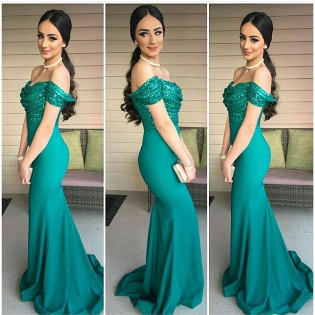 a9389549 Prom Dresses,Sexy Dark-Green Sequins-Top Off-the-Shoulder Mermaid Evening  Gowns