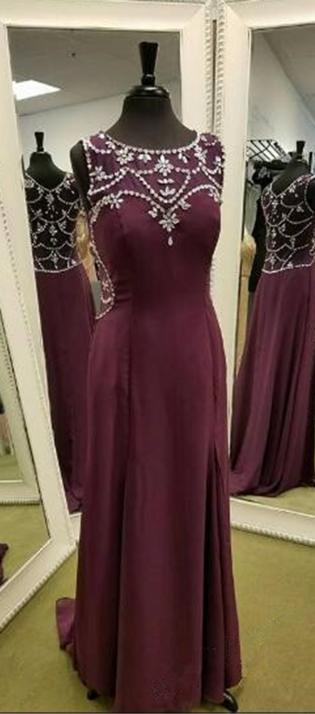 New Arrival Prom Dress,Modest Prom Dress,Burgundy Chiffon Prom Dress,Round Neck Long Prom Dress,Evening Dress,Sleeveless Prom Dress with Beading,Floor Length Prom Party Gowns