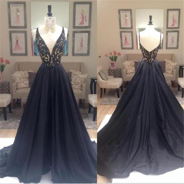 New Arrival Prom Dress,Black prom dress,lace long evening dresses,black lace formal dress,fashion dress for girls