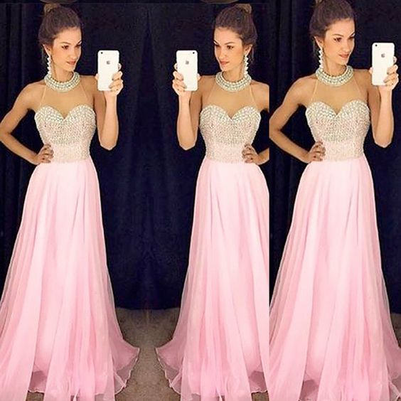 Halter Prom Dress,Beaded Prom Dress,Pink Prom Dress,Fashion Prom Dress,Sexy Party Dress, New Style Evening Dress