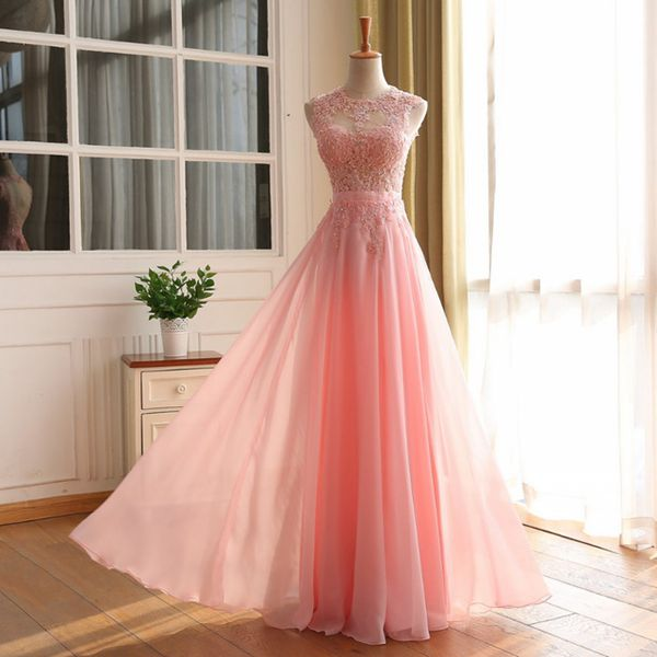 New Arrival Prom Dress,Pink Lace Long Prom Dresses,elegant A-line ...