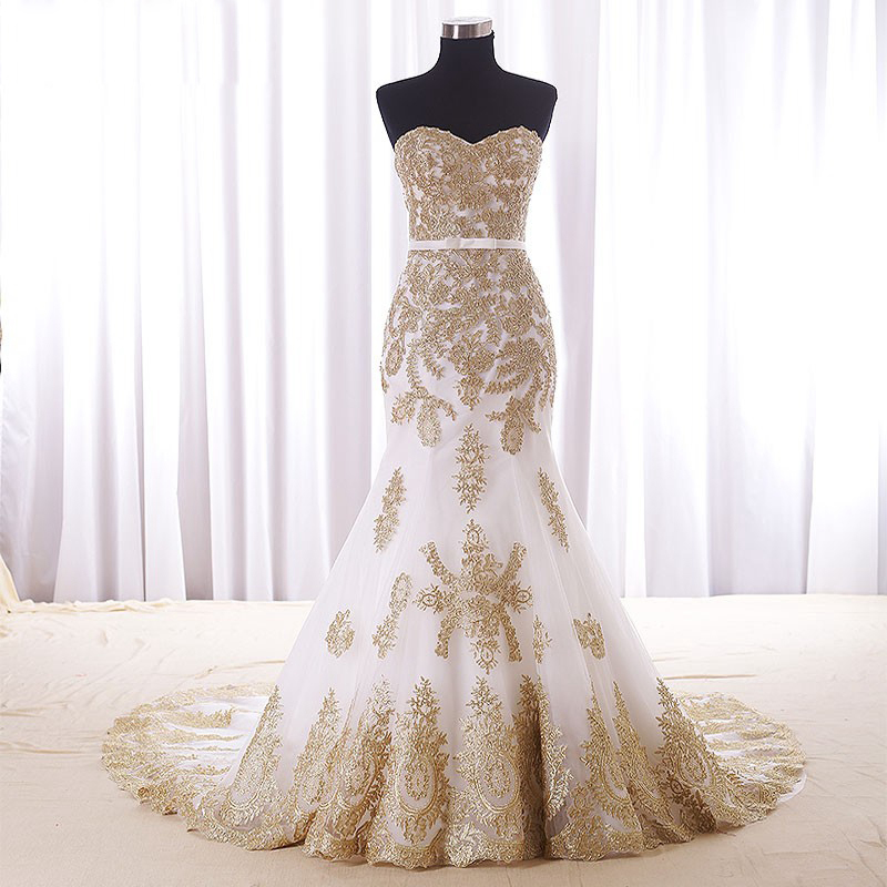 Real Wedding Dress,Gold Lace Appliques Bridal Dresses,Court Train Elegant Mermaid Wedding Dress