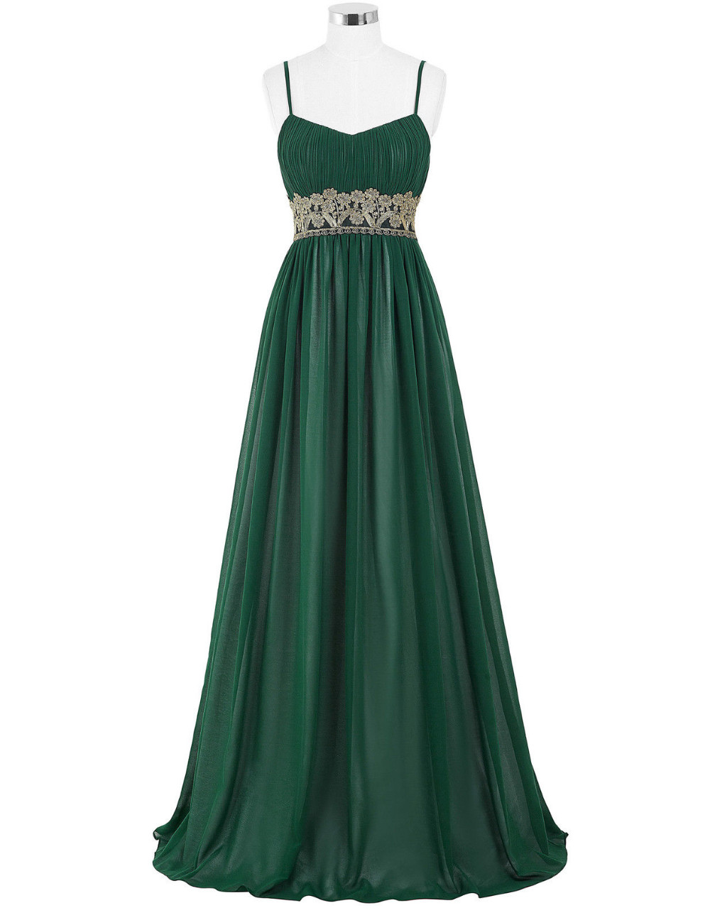 f2fc83c0589 Green Floor Length Chiffon Evening Dress Featuring Spaghetti Strap Ruched  V-Neck Bodice with Floral Lace Appliqués Belt