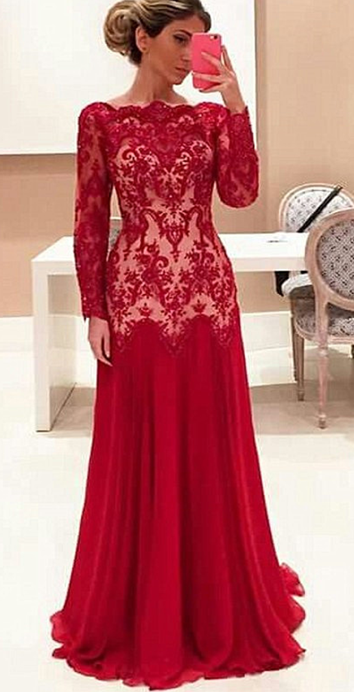 Prom Dresseslong Prom Dresseslong Sleeve Red Lace Evening Dresses