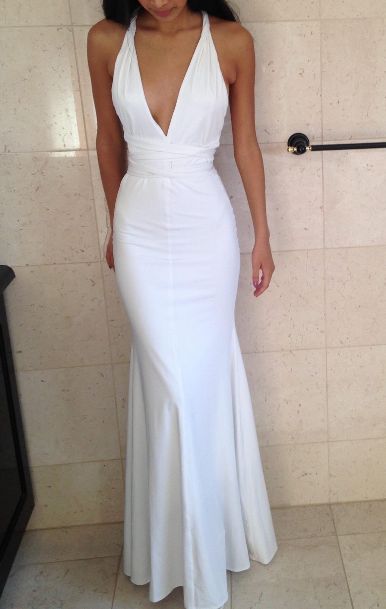 Fitted White Deep V Neck Mermaid Prom Dress, Formal Gown ...