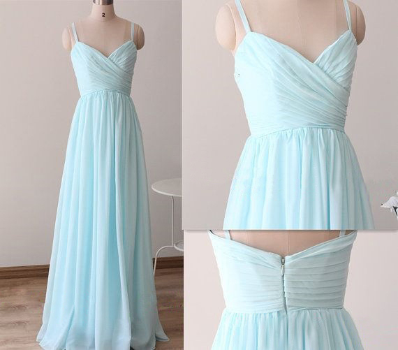 Baby Blue Chiffon Sweetheart Spaghetti Strap Long Bridesmaid Dress Light Prom Dresses Party