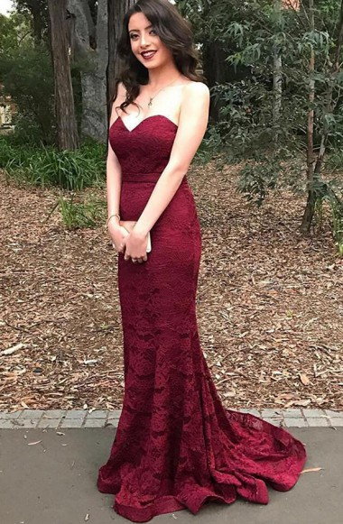 34f849d6be5c Stylish Sweetheart Mermaid Sweep Train Burgundy Lace Prom Dress,Elegant Prom  Dress,Prom Gowns,Long Porm Dress,Party Dress,Formal Dress For Prom ,Prom  Eveing ...