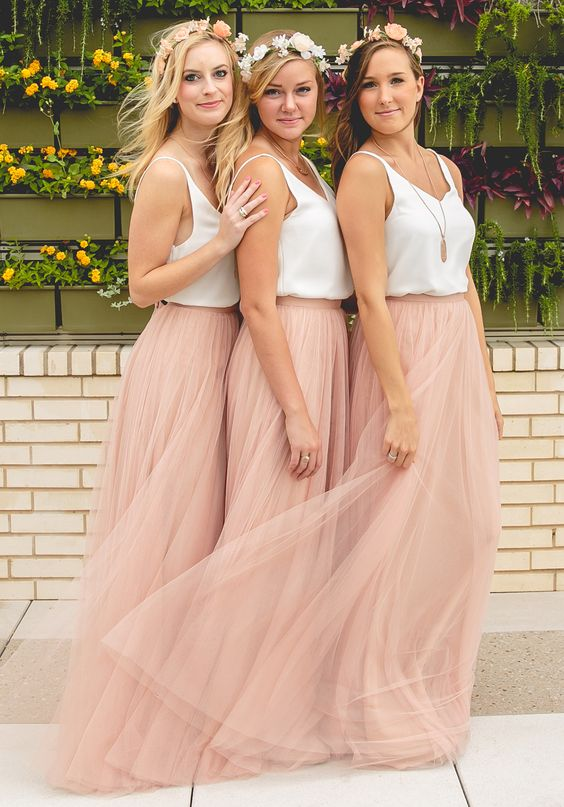 Blush Pink Bridesmaid Dresses Tulle Dress Long Simple Wedding Party