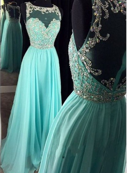 Prom Dresses,Sheer Scoop Prom Gowns,Long Chiffon Prom Dresses,Sky Blue Prom Dress,Prom Dresses with Beadings,Open Back Prom Dress, 2017