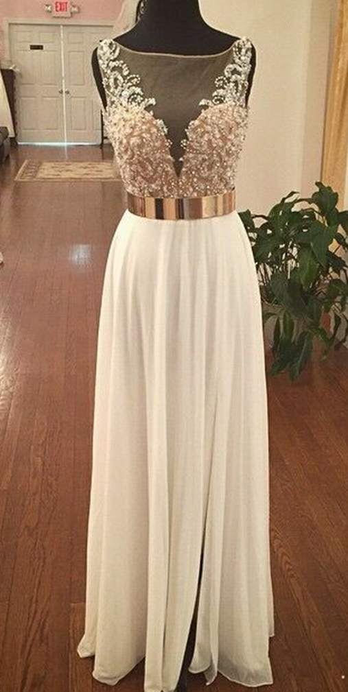 Long white prom dresses 2017 Boat Neck A-Line Floor-Length Chiffon delicated with Beading