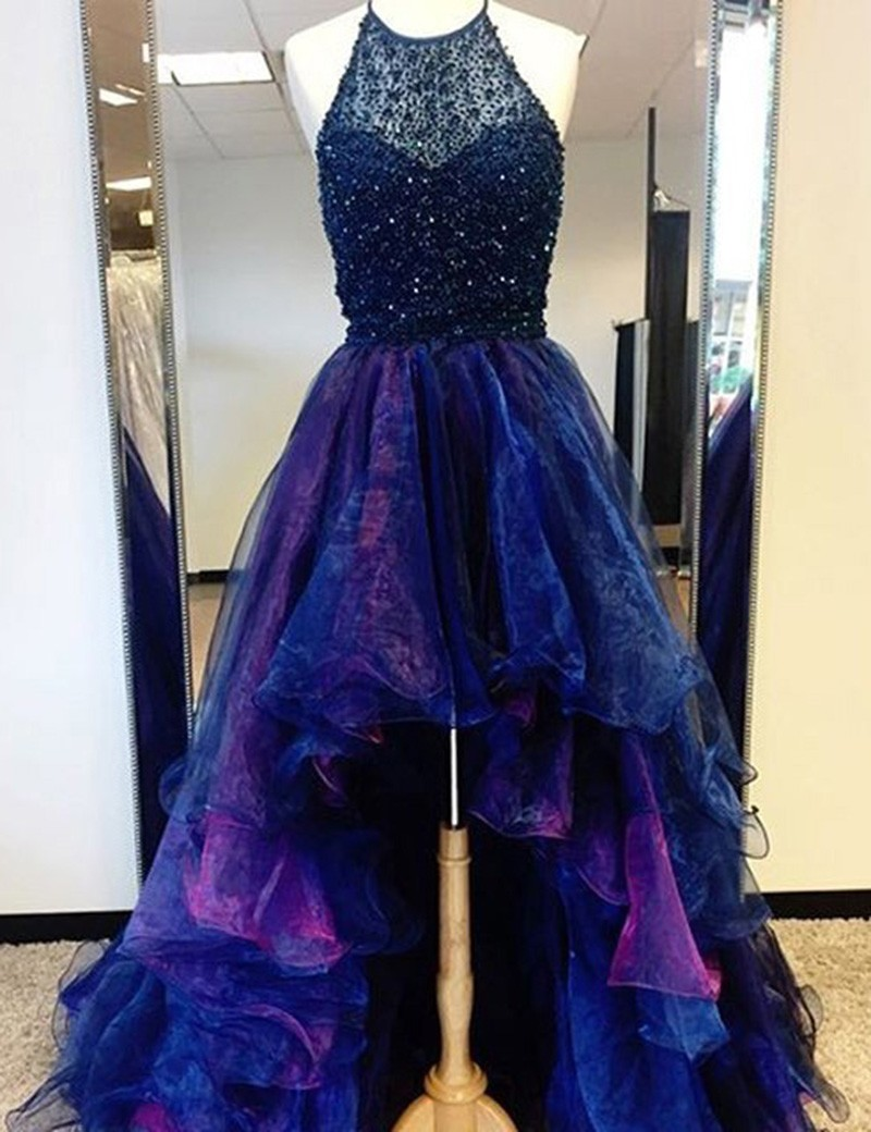 Unique Halter Sleeveless High Low Tiered Royal Blue Prom Dress with Beading