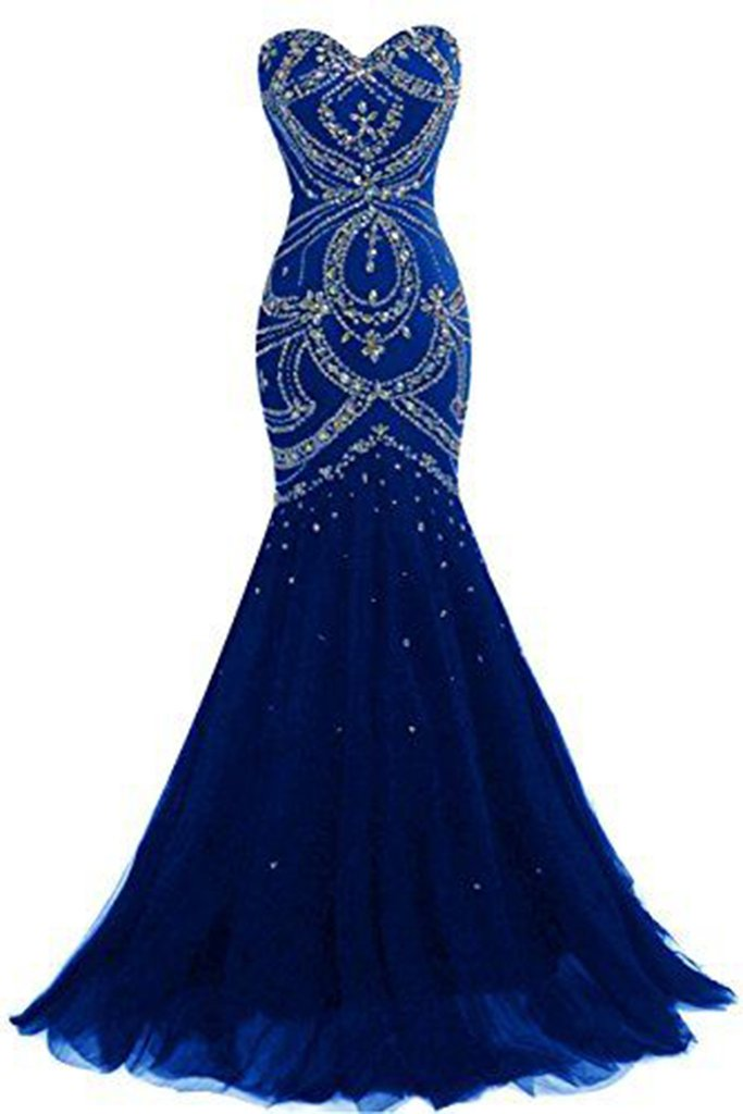 navy blue tulle sweetheart sequins beaded backless mermaid long prom dresses, evening dresses