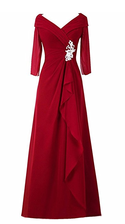 V Neck Short Sleeve Mother of the Bride Dress Evening Gown
