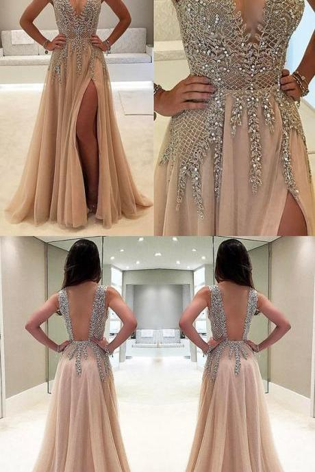 A Line Prom Gown,Evening Gowns,Party Dresses,Champagne Evening Gowns,Formal Gown For Teens