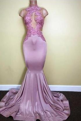 Sleeveless Sweep-Train Appliques Prom Dresses High-Neck Mermaid Newest Evening Dresses Party Gowns