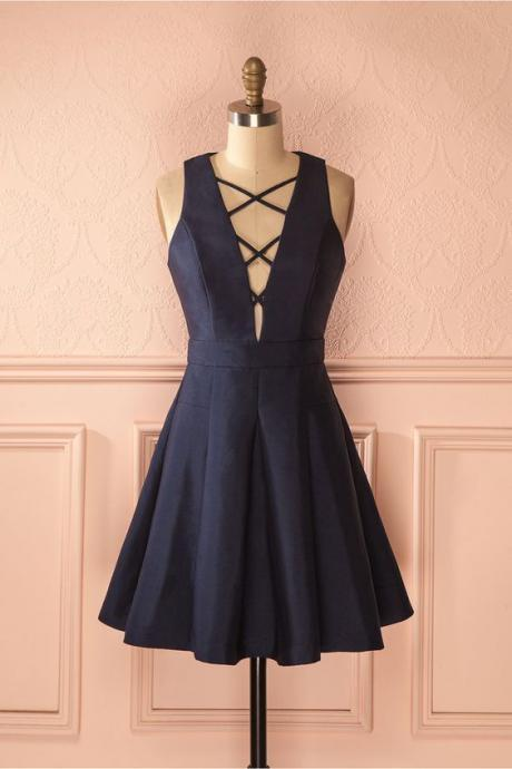 Prom Dress, Navy Blue Prom Gowns, Mini Short Homecoming Dress
