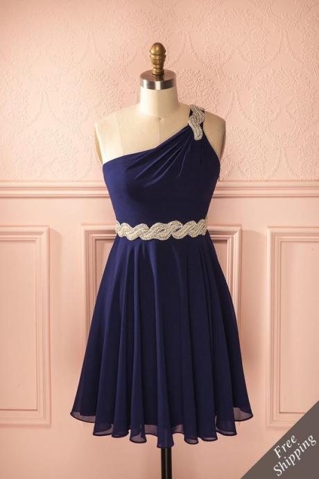 Vintage Prom Dress, Navy Blue Prom Gowns, Mini Short Homecoming Dress
