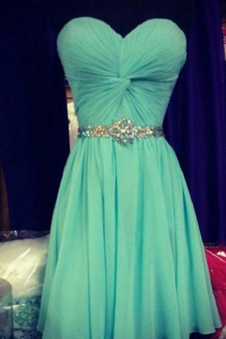 Simple Elegant Sweetheart Neck Strapless Mint Chiffon Homecoming Dresses
