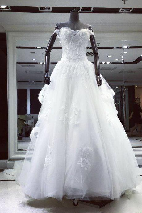 A-line Wedding Dress,Wedding Dresses,Wedding Dress,Wedding Gown,Bridal Gown,Bride Dresses, Off-shoulder Wedding Gown,Lace Bridal Dresses,Beading Wedding Dresses,Long Wedding GOwn,Flowers Bridal Gowns