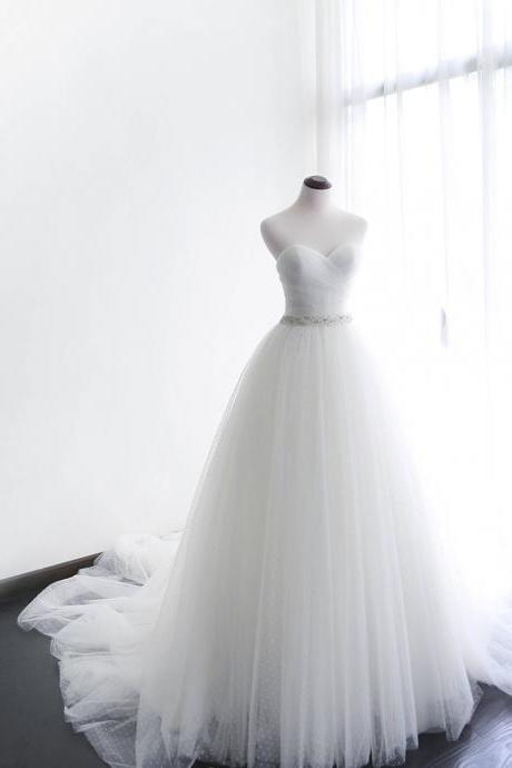 A-line Wedding Dress,Wedding Dresses,Wedding Dress,Wedding Gown,Bridal Gown,Bride Dresses, Sweetheart Wedding Dress,Ivory Bridal Dress,Long Wedding Gown,Dot Tulle Wedding Dress,Wedding Dress With Jacket ,Customized Made Bride Dresses,Plus Size Bridal Gowns