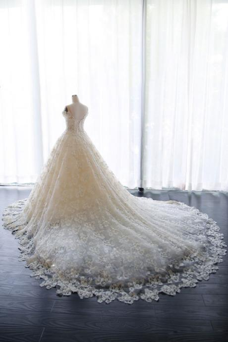 Princess Wedding Dress, Wedding Dresses,Wedding Dress,Wedding Gown,Bridal Gown,Bride Dresses, Puffy Wedding Gown,Ball Gown Bridal Dress,Short Sleeves Wedding Dress,Lace Wedding Dress,Pearls Bride Dresses,Lace Up,Plus Size Wedding Dress