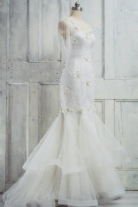 Mermaid Wedding Dress,Long Wedding Dresses, Wedding Dress,Wedding Dress,Wedding Gown,Bridal Gown,Bride Dresses, Long Wedding Dress,Tiered Wedding Gown,Beading Bridal Dresses,Ivory Wedding Dress,Floral Wedding Dress,Sequins Wedding Dress