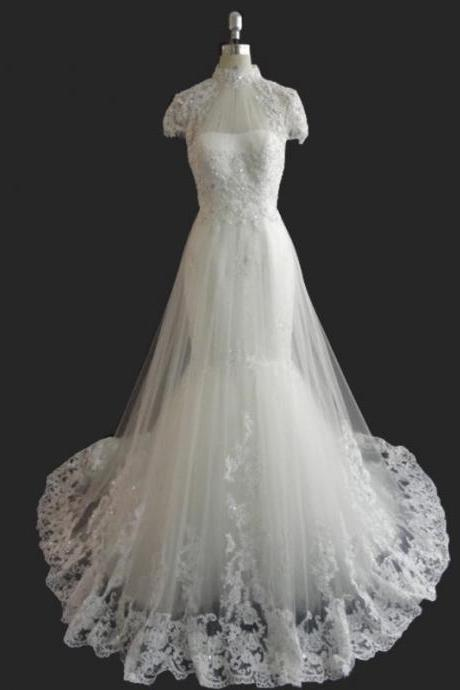 Short Sleeves Wedding Dress,Long Wedding Dresses, Wedding Dress,Wedding Dress,Wedding Gown,Bridal Gown,Bride Dresses, Mermaid Wedding Dress,High Neck Wedding Dress,Tulle Wedding Dress,Lace Wedding Dress,Lace Wedding Dress,Appliqued Wedding Gown,Chapel Train Wedding Gown,Beaded Wedding Gown,Beach Wedding Dress,Backless Wedding Dress