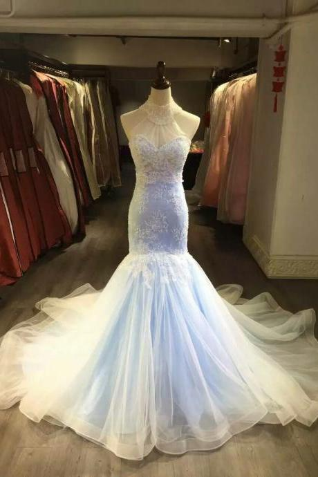 Wedding Dress,Wedding Gown,Bridal Gown,Bride Dresses, Long Wedding Dresses,Lace Wedding Dress,Mermaid Wedding Gown,High Neck Wedding Gowns,Appliqued Wedding Gown,Beaded Bridal Dresses Light Blue Wedding Dress,Crystal Wedding Dress