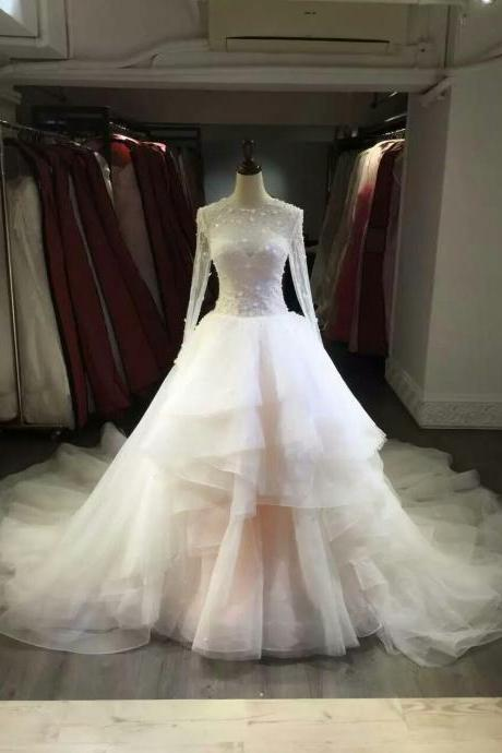 Wedding Dress,Wedding Gown,Bridal Gown,Bride Dresses, Long Wedding Dresses,Nude Wedding Dresses, Ball Gown Bridal Dresses,Bridal Dresses 2017, Long Sleeves Wedding Dresses,Tiered Wedding Dress,Crystal Wedding Dress,Tulle Wedding Gown,Beaded Wedding Gown,Sexy Wedding Dress,Customized Made Wedding Dress