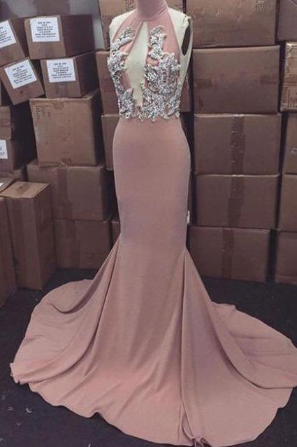 Halter Neck Sheath Chiffon Prom Dresses Lace Appliques Women Party Dresses 2017