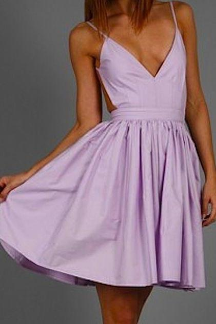 Lilac Homecoming Dress, Homecoming Gown,Party Dress,Prom Dresses,Ruffled Cocktail Dress,Formal Gown