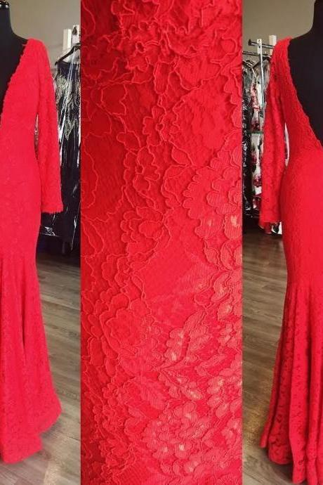 V Neck Red Lace Prom Dresses Wedding Party Dresses Formal Dresses Sweet 16 Dresses Banquet Dresses with Long Sleeves