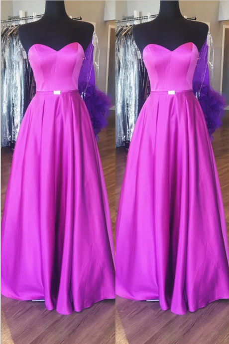 Purple Strapless Sweetheart Satin A-line Long Prom Dress, Evening Dress
