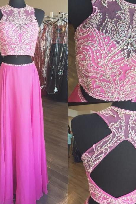 Two Piece Prom Dresses Party Dresses Formal Dresses with Keyhole Back