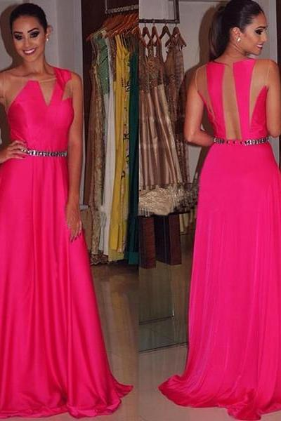 Stretch Satin Round Evening Dress Outlet Sleeveless Floor-Length Beading A-Line Evening Dress