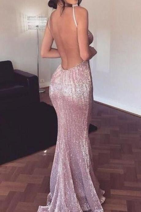 backless prom dresses, spaghetti straps prom dresses, Sequined prom dresses