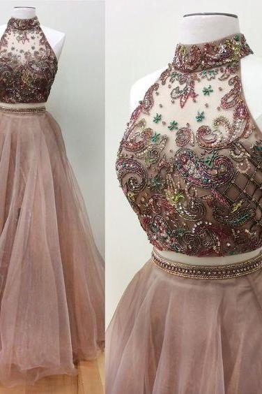 Glamorous Two-Piece A-Line Floor-Length Prom Dress with Beading