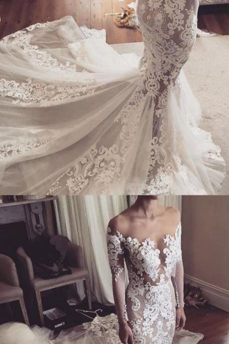 Mermaid Wedding Dresses,Off-the-Shoulder Wedding Dresses,White Wedding Dresses,Lace Wedding Dresses,Wedding Dresses Cheap Wedding Dresses,Plus Size Wedding Dresses