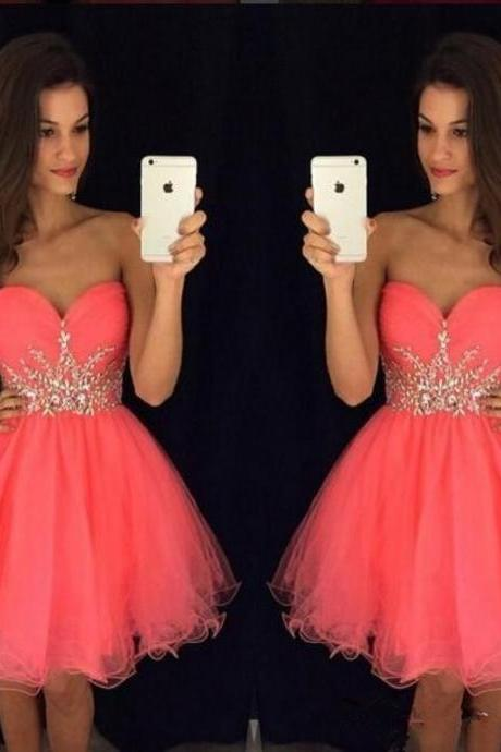 Ball Gown Homecoming Dress, Mini Homecoming Dress, Beading Homecoming Dress, Cocktail Dress, Short Cocktail Dress, Sweetheart Cocktail Dress
