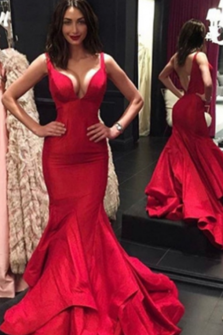 Red Straps Backless Trumpet/Mermaid Satin Prom Dresses
