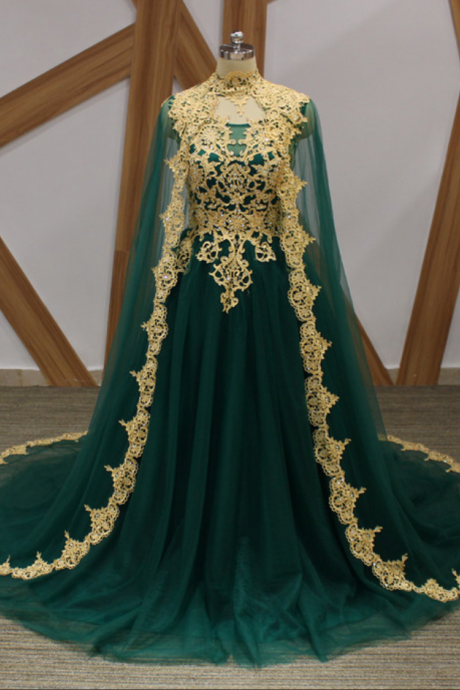 Long Prom Dresses 2018 Green Tulle A Line Arabic Party Gowns With Gold Lace Crystals A Line Cloak Floor Legnth Prom Dress Cheap