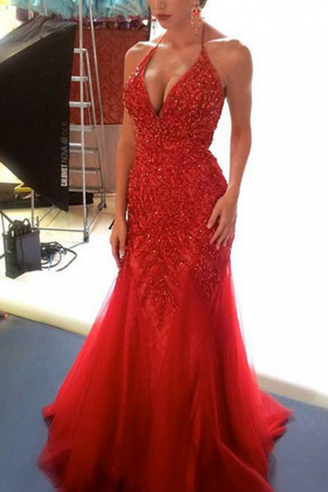 Sparkle Red Prom Dress with Beads