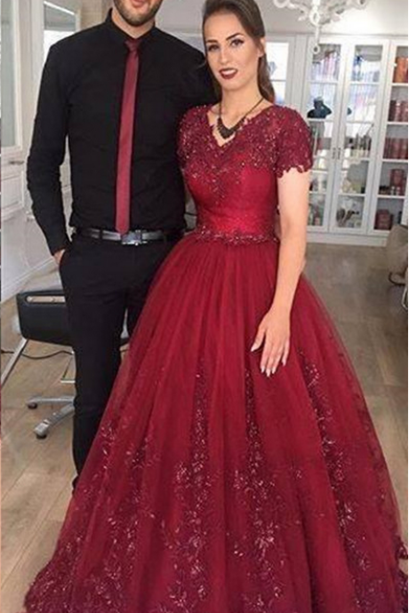 Short Sleeves Dark Red Long Prom Dress with Lace