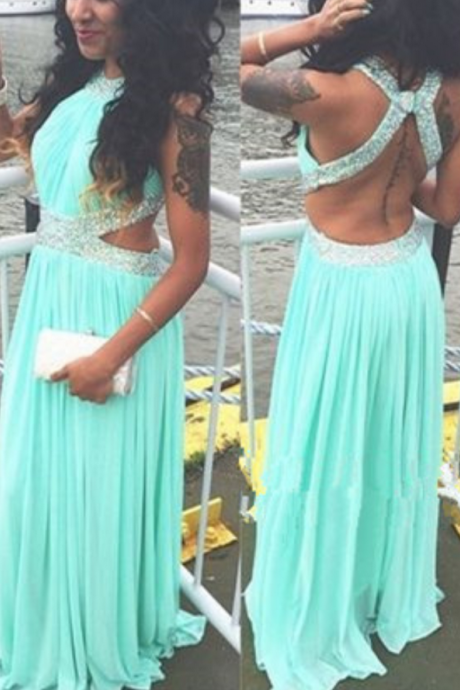 Mint Green Prom Dresses,Backless Evening Gowns,Sexy Formal Dresses,Beaded Prom Dresses