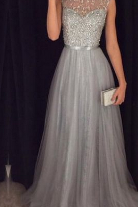 New Arrival Cap Sleeves Beading Prom Dresses,Charming Gray Evening Dresses,A-line Modest Prom Gowns