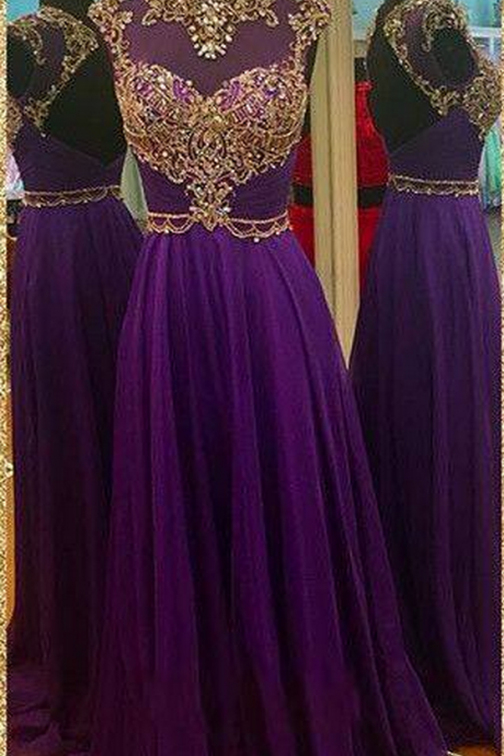 long purple prom dresses, beaded backless prom dress, purple chiffon prom dress