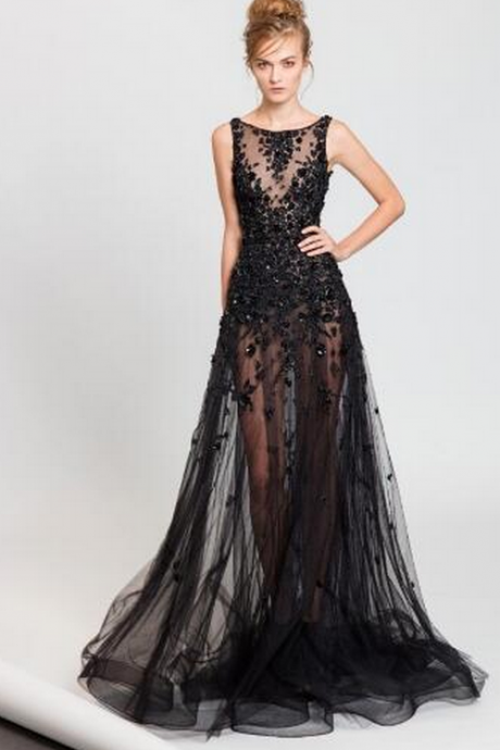 Black Prom Dress, A Line Prom Dress, Beaded Prom Dress, Sleeveless Prom Dress, Tulle Prom Dress, Elegant Prom Dress