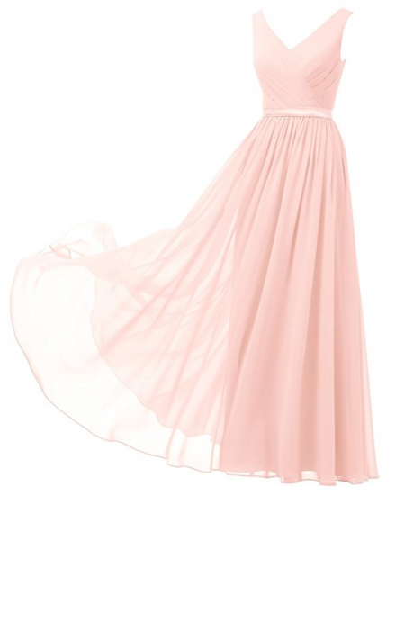 Custom Made Pink Chiffon V-Neckline Drapped Evening Dress, Wedding Dresses, Bridesmaid Dresses, Graduation Dresses
