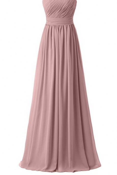 Custom Made Dusty Pink One-Shoulder Neckline Chiffon Floor Length A-Line Bridesmaid Dress