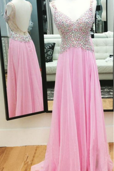 Pink Beaded Embellished Plunge V Sleeveless Chiffon Floor Length A-Line Formal Dress featuring Open Back